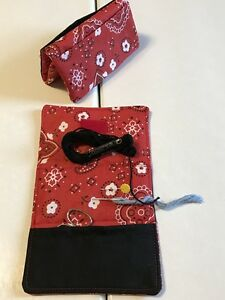 Handmade RED BANDANA cotton fabric needle scissor sewing holder case $6.99