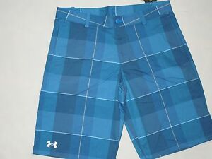 Under Armour  boys blue plaid Club Golf shorts size YXL youth XL