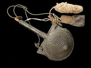 VERY NICE NORTH AFRICAN CONE SHAPED POWDER FLASK WITH ACCESSORIES