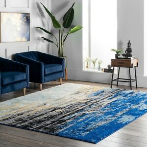 nuLOOM Abstract Modern Area Rug Multi in Blue 4.5 Star Amazon Reviews