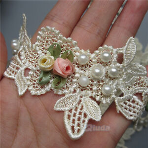 1 yard Flower Pearl Lace Edge Trim Wedding Bridal Ribbon Applique Sewing Crafts