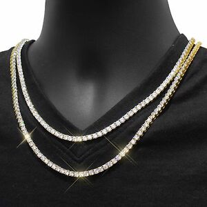 Mens Tennis Necklace Choker Chain 14k Gold Finish 3mm Lab Diamond 18