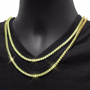 Yellow CZ Tennis Necklace 3mm Choker Chain Mens HipHop 18