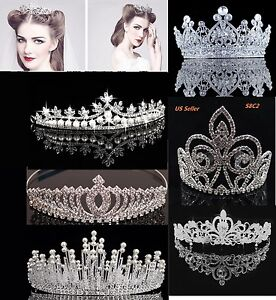 Bridal Crystal Tiara Crown Comb Hair Rhinestone Wedding Pearl Headband Gift S8C $9.95