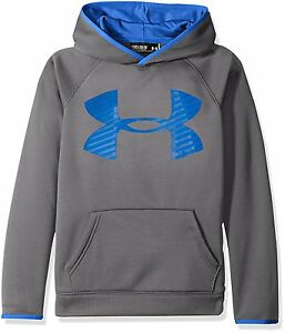 Under Armour STORM ARMOUR FLEECE BIG LOGO HOODIE BOYS Small 78 Youth Gray NWT