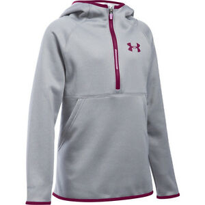 Under Armour GIRLS ARMOUR FLEECE HOODIE GRAY SIZE MEDIUM Youth Sweatshirt NWT