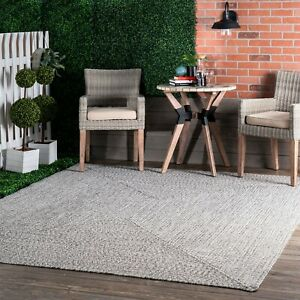 nuLOOM Braided Contemporary Modern Indoor Outdoor Area Rug in Gray $51.99