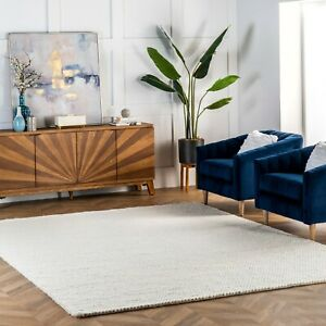 nuLOOM Hand Made Contemporary Modern Braided Wool Area Rug in Solid Off White $336.78