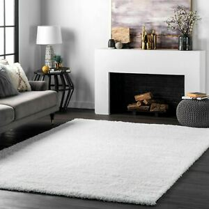 nuLOOM Contemporary Modern Simple Plush Shag Area Rug in Solid White $49.99