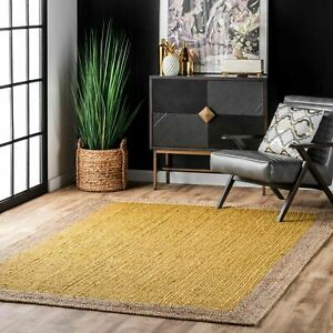 nuLOOM Contemporary Modern Simple Bordered Natural Jute Area Rug in Yellow $24.99