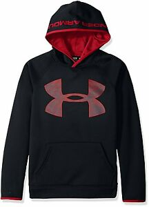 Under Armour STORM BIG LOGO HOODIE BLACK RED Boys Large 1416 Sweatshirt NWT