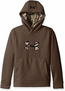 Under Armour ICON CALIBER HOODIE BROWN Boys size Large 1416 Sweatshirt NWT