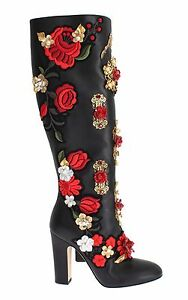 NEW DOLCE & GABBANA Boots Shoes Roses Crystal Gold Heart Leather EU39  US8.5