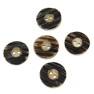 Handmade 5 Piece Ribbed Horn Sewing Clothing Button Set $8.04