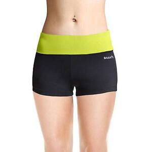 Baleaf Women's Workout Running Boy Cut Foldover Shorts Inner Pocket Lime...
