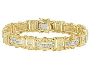 Yellow Gold Finish Real Diamond Designer Men's Pave Bracelet 12 CT 8