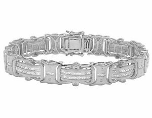 White Gold Finish Real Diamond Designer Men's Pave Bracelet 12 CT 8