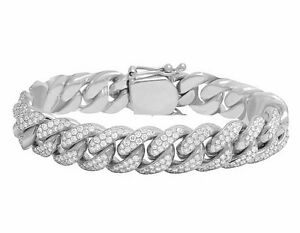 Men's Solid 10K White Gold Real Diamond Miami Cuban Link Bracelet 9 12 CT 14MM