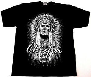 CHIEFIN T-Shirt Native American Indian Warrior Chief Skull Tee Men Black New
