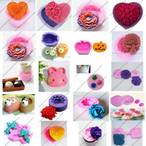 Various 3D Flower Fondant Cake Mold Chocolate Sugar Decor Silicone Mould Cutters