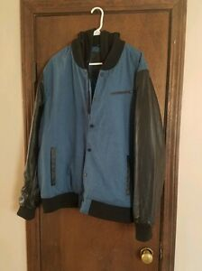 Hurley men's XL multicolor cloth& leather JacketHoodie..