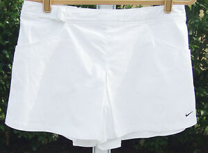 NEW NIKE FIT-DRY WHITE WOMEN'S COTTON POLYESYER TENNIS GOLF SKIRT SHORTS 8 SHORT