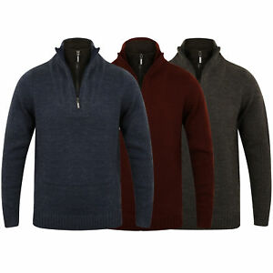 Mens Wool Mix Knitted Jumper Dissident Double Layer Funnel Neck Pullover Sweater