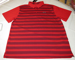 Under Armour UA HeatGear UPF 30 Loose Polo shirt Mens XXL 1306652 red navy 600