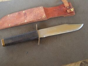 VINTAGE COWBOY STYLE HUNTING BOWIE KNIFE HANDMADE STAMPED RC W SHEATH