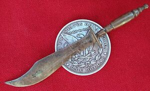 SMALL ANTIQUE MARKED STERLING SILVER BOWIE KNIFE LETTER OPENER