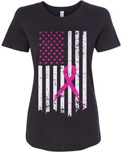 Pink Ribbon Breast Cancer Awareness Flag Women#x27;s Fitted T Shirt