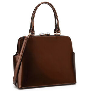New Dasein Women Handbag Patent Faux Leather Satchels Tote Shoulder Work Day Bag