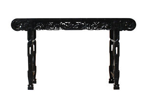 Chinese Brown Black Huali Rosewood Scroll Birds Grape Leaf Altar Table cs3168