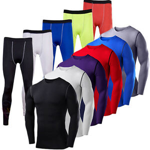 Mens Compression Base Layer Armour Thermal Long Gym T-Shirt Pants Tight Gear Top