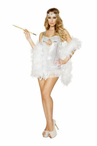 Sexy 2 Pc Womens 1920's Silver Sequin Flapper Fringe Dress Halloween Costume Set