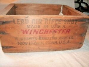 Lead AIR RIFLE SHOT BOX. Winchester Repeating Arms Co.  Wood Box