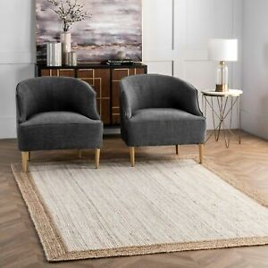 nuLOOM Contemporary Modern Simple Border Natural Jute Area Rug in White and Tan