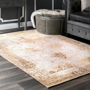 nuLOOM Vintage Faded Abstract Cotton Blend Area Rug in Sand Gold