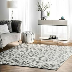 nuLOOM Contemporary Modern Animal Leopard Print Area Rug in White and Grey $152.99