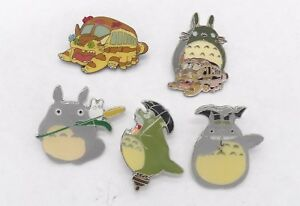 5 My Neighbor Totoro & Catbus Pin Badge Set ~NEW~
