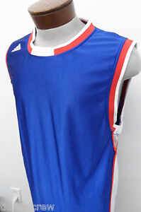 ADIDAS ATHLETIC CREWNECK TANK TEE SHIRT ~ M mens blue dry dri fit team USA ^4534