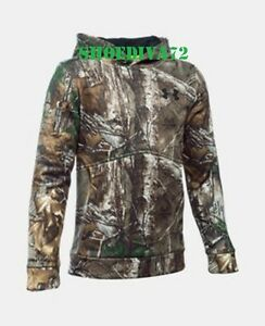 Under Armour Mossy Oak Camo Water Resistant Hoodie Youth Boys M 10 12 cold gear