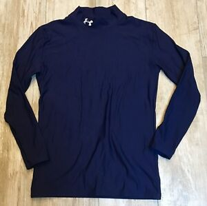 BOYS UNDER ARMOUR NAVY BLUE LS COMPRESSION COLDGEAR MOCK NECK SHIRT YOUTH XL