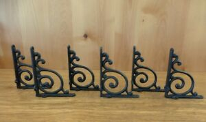 6 BROWN ANTIQUE STYLE 5.5quot; SHELF BRACKETS RUSTIC CAST IRON WAVE DESIGN wall
