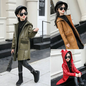 kids girls leather outwear fleece hooded thick jacket warm Fashion slim coat top