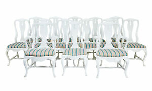 SET OF 12 + 2 1920's QUEEN ANNE DESIGN DINING CHAIRS
