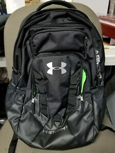 NEW Under Armour Team Hustle Storm1 one Backpack Book Bag UNISEX Black Green