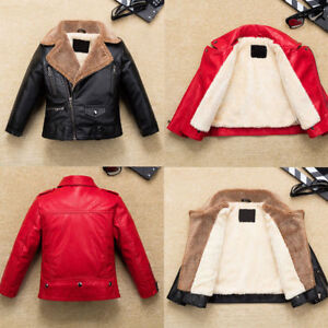 Cool Kids Boys Girls Leather Jacket Fleece-Lined Warm Coat Biker Outerwear Gift