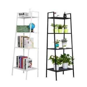4-Tier Durable Bookcase Bookshelf Leaning Wall Shelf Shelving Ladder Storage