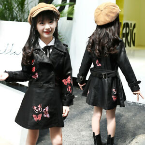 Kids Girl Fashion Casual Printing Warm Coats PU Leather Lapel Jacket Outwear Top